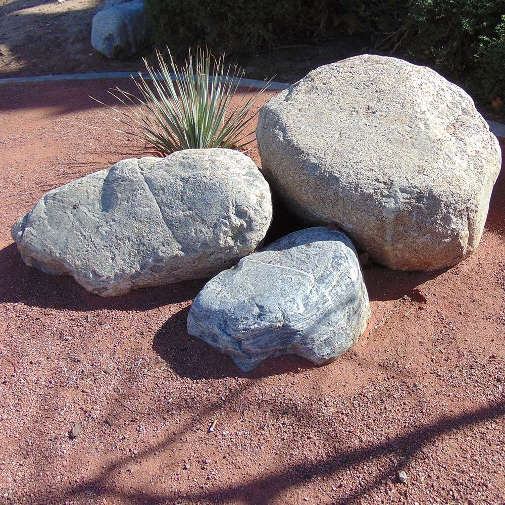 Detail Of One Man Boulder Edging For Raised Beds: Ruby Red Gravel 3/8""