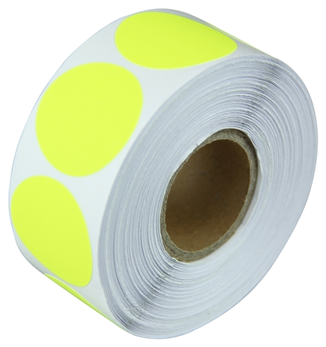 2 fluorescent yellow circle stickers