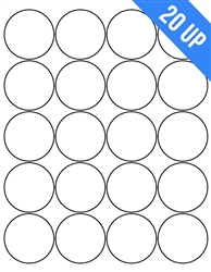"2"" Circle - 20 UP - Labels on Sheets"