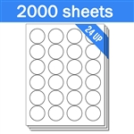 "1.67"" Circle - 24 UP - Labels on Sheets (1 Carton - 2000 Sheets)"