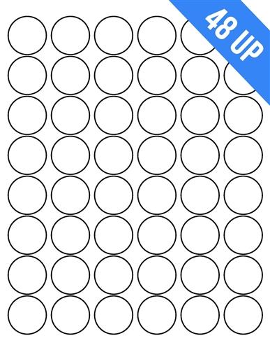 48up 1 2 circle round circular laser white blank labels stickers laser inkjet printer