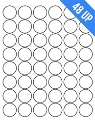 48UP 1.2 Circle Round Circular Laser White Blank Labels Stickers Laser Inkjet Printer