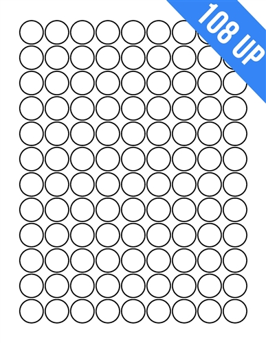 34 Circle 108 Up Labels On Sheets