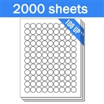 "3/4"" Circle - 108 UP - Labels on Sheets (1 Carton - 2000 Sheets)"