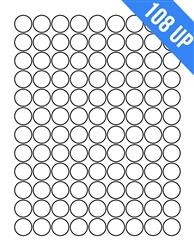 "3/4"" Circle - 108 UP - Labels on Sheets"