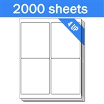 "4.25"" x 5.5"" - 4 UP - Labels on Sheets (1 Carton - 2000 Sheets)"
