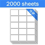 "2.625"" x 2"" - 15 UP - Labels on Sheets (1 Carton - 2000 Sheets)"