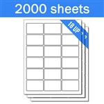 "2.5"" x 1.563"" - 18 UP - Labels on Sheets (1 Carton - 2000 Sheets)"
