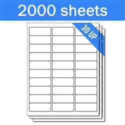 "2.625"" x 1"" - 30 UP - Labels on Sheets (1 Carton - 2000 Sheets)"