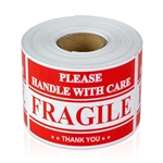 3 x 2 inch - Fragile - Handle With Care Stickers