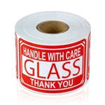 3 x 2 inch - Glass - Handle with Care Stickers