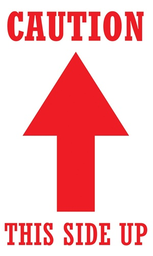 """3"""" x 5"""" caution arrow this side up"""