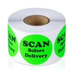 "1-1/2"" Scan Before Delivery - Circle Stickers"