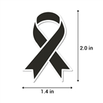 2.2 x 1.6 inch Melanoma & POW/MIA Awareness Ribbon Sticker (Black)