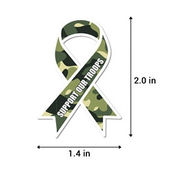 2.2 x 1.6 inch Support the Troops Awareness Ribbon Sticker (Green-Camo)