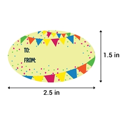2.5 x 1.5 inch Birthday Gift Tag (White, Yellow, Pink)
