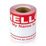 "2-5/16"" x 4 Hello My Name is  Colored Name Badges - Red"