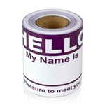 "2-5/16"" x 4 Hello My Name is  Colored Name Badges - Purple"