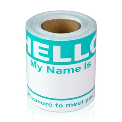 "2-5/16"" x 4 Hello My Name is  Colored Name Badges - Turquise"