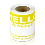 "2-5/16"" x 4 Hello My Name is  Colored Name Badges - Yellow"