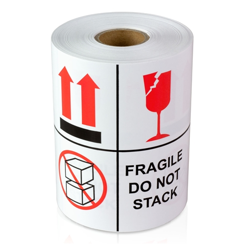 """4"""" x 4"""" fragile - do not stack - stickers"""