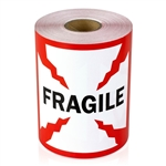 4 x 4 inch  - Fragile Stickers - Warning Stickers