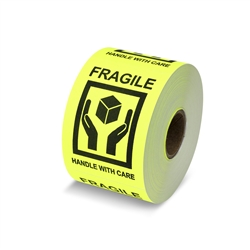 "3"" x 2"" Fragile - Handle with Care Yellow - Stickers"