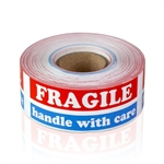 "1"" x 3"" Red, White and Blue Fragile Handle With Care - Stickers"