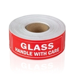 3 x 1 inch - Glass Stickers - Handle with Care - Warning Stickers