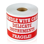 "3"" x 5"" Fragile Handle With Care - Delicate Instruments - Stickers"