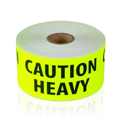 4 x 2 inch - Caution Heavy Stickers - Shipping Stickers