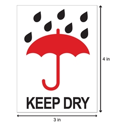 3 x 4 inch - Keep Dry Stickers - Shipping Stickers