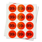 1 inch -  99 Cent Stickers - Sale Retail Pricing Labels - Circle Stickers