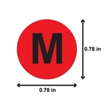 "M Clothing Size Labels Round Self Adhesive Stickers for Retail Apparel T Shirts  (Red Black / .8"" )"