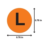 "L Clothing Size Labels Round Self Adhesive Stickers for Retail Apparel T Shirts  (Orange Black / .8"" )"
