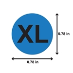 0.78 inch - XL / X-Large Stickers - Sizing Stickers