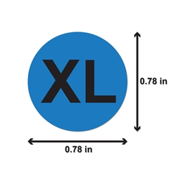 "XL Clothing Size Labels Round Self Adhesive Stickers for Retail Apparel T Shirts  (Blue Black / .8"" )"