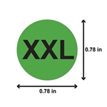 "XXL Clothing Size Labels Round Self Adhesive Stickers for Retail Apparel T Shirts  (Green Black / .8"" )"