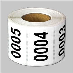 "1 x 1.5 inch - ""0001 to 0500"" Consecutive Number Stickers - Inventory Stickers"