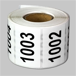 "1.5 x 1 inch - ""1001 to 1500"" Consecutive Number Stickers - Inventory Stickers"