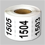 "Consecutive Number Labels Self Adhesive Stickers ""1501 to 2000"" (White Black / 1.5"" x 1"")"