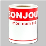 4 x 2.31 inch - Bonjour French Hello Sticker - Name Tag