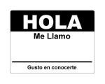 4 x 2.31 inch - Hola Sticker ( Black ) - Name Tags