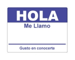 4 x 2.31 inch - Hola Sticker ( Dk Blue ) - Name Tags