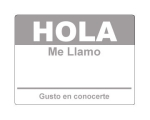4 x 2.31 inch - Hola Sticker ( Grey ) - Name Tags