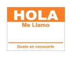 4 x 2.31 inch - Hola Sticker ( Orange ) - Name Tags