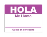 4 x 2.31 inch - Hola Sticker ( Purple ) - Name Tags