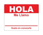 4 x 2.31 inch - Hola Sticker ( Red ) - Name Tags