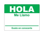 4 x 2.31 inch - Hola Sticker ( Green ) - Name Tags