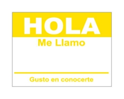 4 x 2.31 inch - Hola Sticker ( Yellow ) - Name Tags
